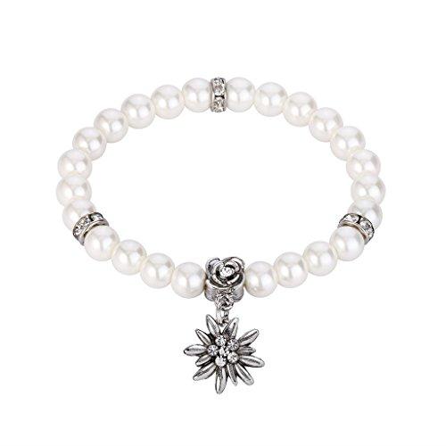 Clarine Damen Oktoberfest Trachtenscmuck Künstliche Perlen Kristall Edelweiß-Trachten-Perlenarmband Elastisches Armband