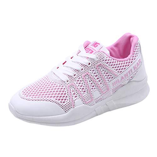 Yvelands Mode Damen Flache Unterseite Mesh Schuhe Cross-Strap Sport Schuhe Atmungsaktive Turnschuhe(CN-36,Rosa)