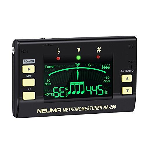NEUMA Digitaler Metronom Tuner, Professioneller 3-in-1 Stimmgerät Instrumenten-Tuner mit großem LCD-Bildschirm für Gitarre, Bass, Violine, Ukulele, chromatische Stimmung, Tonabnehmer und Batterie Stimmgerät Für Bass-gitarre
