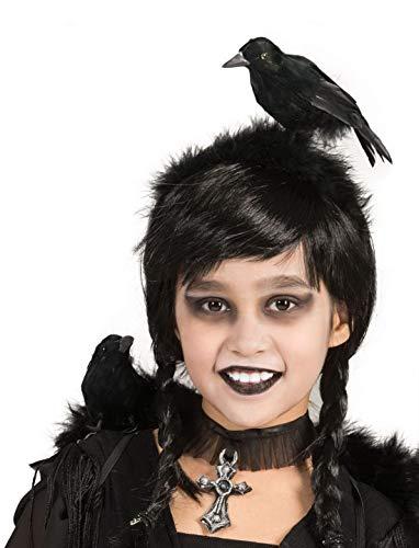 Karnevalsbud - Kostüm Accessoires Zubehör Kopfbedeckung mit Kleiner Krähe Vogel Rabe, Diadem with small Crow, perfekt für Halloween Karneval und Fasching, Schwarz