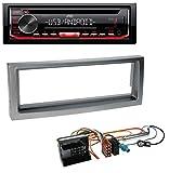 caraudio24 JVC KD-T402 USB AUX MP3 1DIN CD Autoradio für Citroen C5 Peugeot 407 ab 04 grau-metallic