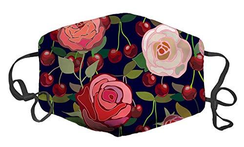 Vintage rote und rosa Rosen und Kirschen benutzerdefinierte Mundmaske Anti-Staub-Gesichtsmaske verstellbare Schnalle Gesichtsmaske -