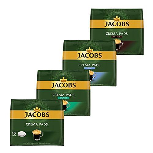 Jacobs Kaffeepads-Set Crema Pads, 4er Set, Klassisch, Kräftig, Balance & Mild, Kaffee, 64 Pads