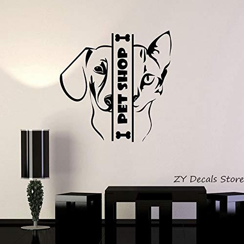 Pet Shop Wandtattoos Tier Katze Hund Wand Fensteraufkleber Für Haustiere ShopsKunstwandSelbstklebende Tapete56x56cm