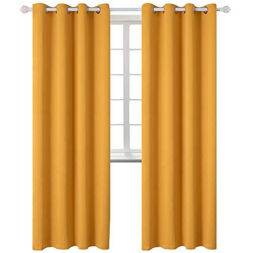 Tende oscuranti moderne per finestre camera da letto casa interni,2 panelli(140 x 245cm(l×a),giallo)