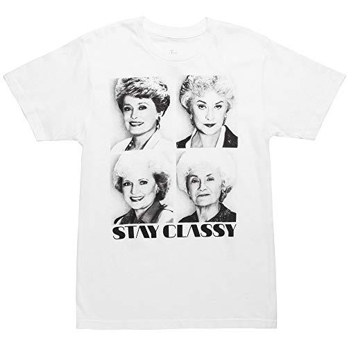 Golden Girls Stay Classy Adult White T-Shirt (X-Large) - Golden Ash Grey-t-shirt