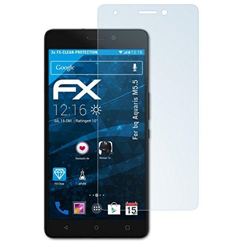 atFolix Schutzfolie kompatibel mit bq Aquaris M5.5 Folie, ultraklare FX Bildschirmschutzfolie (3X)
