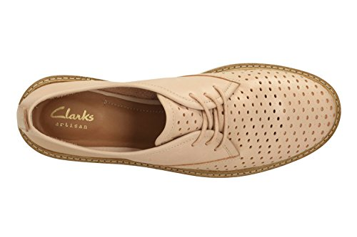 Clarks Glick Resseta, Derby femme Nude Leather