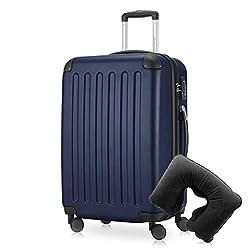 Hauptstadtkoffer - Spree Hartschalen-Koffer Koffer Trolley Rollkoffer Reisekoffer Erweiterbar, 4 Rollen, TSA, 65 cm, 74 Liter, Dunkelblau inkl. Reise Nackenkissen