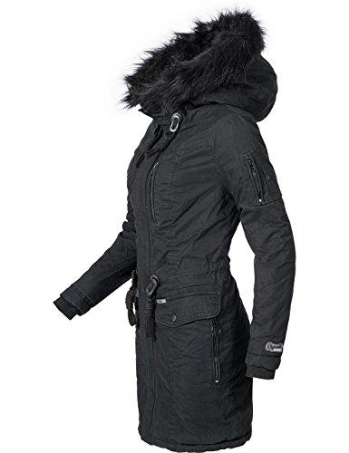 Khujo Damen Winter Mantel Baumwoll Parka YM-Anastina Schwarz Gr. S Winter Parka