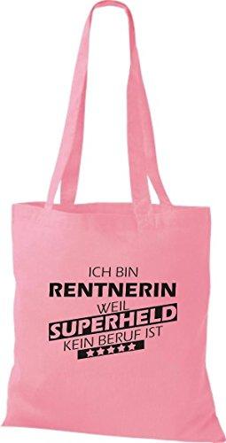 Shirtstown Stoffbeutel Ich bin Rentnerin, weil Superheld kein Beruf ist rosa