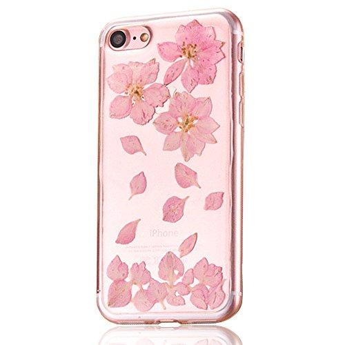 """iPhone 7 Schutzhülle, iPhone 7 Soft TPU Handytasche, CLTPY Modisch Durchsichtige Rückschale im Getrocknete Blumenart, [Stoßdämpfung] & [Kratzfeste] Full Body Case für 4.7"""" Apple iPhone 7 + 1 Stylus -  Floral 16"""