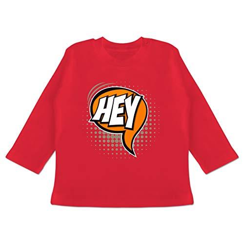 Karneval und Fasching Baby - Popart Karneval Kostüm Hey - 12-18 Monate - Rot - BZ11 - Baby T-Shirt Langarm - Hey Hey Roten T-shirt