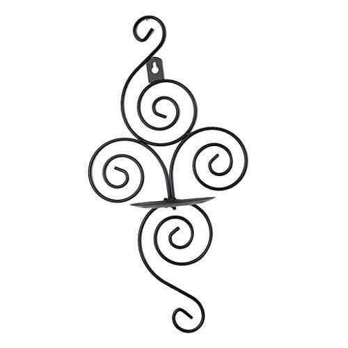 PETSOLA Antike Wandleuchte Säule Kerzenhalter Eisen Kandelaber Lampe - Schwarz (Kandelaber Lampe Schwarze)
