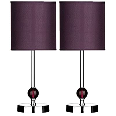 Box Of 2 Table Lamps Purple Acrylic Fabric Shade