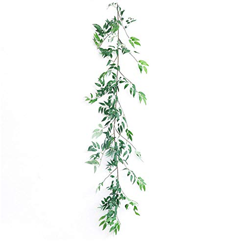 wcylj Gefälschte Blume 170Cm Künstliche Blätter Grüne Girlande Weidenranke Für Zu Hause Hochzeitsdekoration DIY Gefälschte Blätter Künstliche Pflanzen Ivy Faux Rattan Grün -