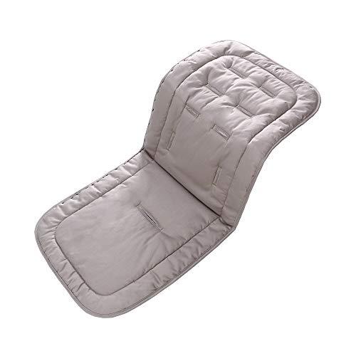 Baby Sitzauflage, 100% Baumwolle Kinderwagen Sitzbezüge Autositz Einlage Pad 32x80 cm Weiche und Reversible Babyschale Sitzauflage für Kinderwagen Buggy Babybett Kinderbett(Grau)