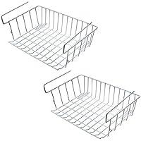 Zmoon Cestas de Almacenaje Multiuso, 2 Piezas Cestas organizadoras Cesta metálica Apilable para Cocina, Baño, Oficina y Dormitorio - Blanco