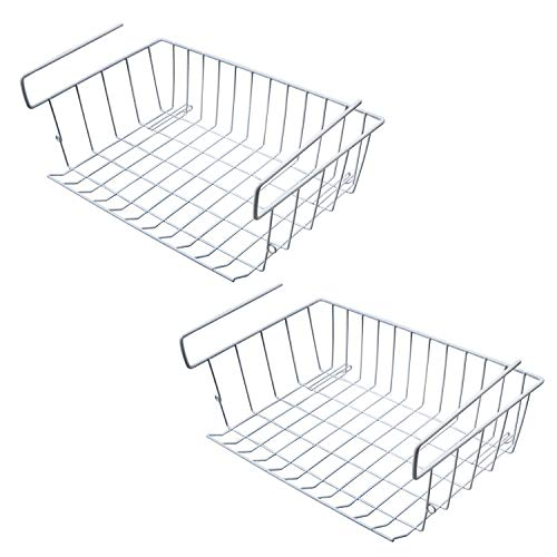 Zmoon unter Regal Ablagekorb, 2 Stück Unter Schrank Lagerung Drahtkorb Organizer Fit Dual Haken für Küche Speisekammer Schreibtisch Bücherregal Schrank - weiß -