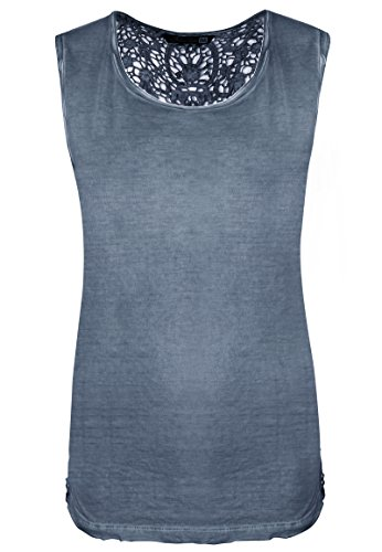 Fresh Made Vintage Spitzentop Uni | Damen Tank-Top mit Spitze einfarbig im Used-Look Middle-Blue XS