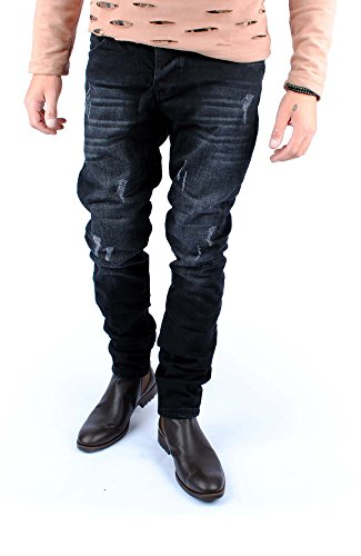 FiveSix Herren Slim-Fit Used-Look Denim Destroyed-Look Regular-Fit Biker Zerrissen Jeans Hose Schwarz