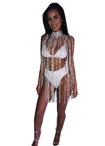 ❤️• •❤️ LUCKYCAT BH-Körperkette Heißer Verkauf Mode Frauen BH-Körperkette Nachtclub Party Body Kette Jewelry Bikini Taille Gold Bauch Strand Harnes Versuchung Reizvolle BH-Körperkette (Silber) (Ketten-dessous)