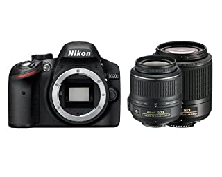Nikon D3200 SLR-Digitalkamera (24 Megapixel, 7,6 cm (3 Zoll) Display, Live View, Full-HD) Double Zoom Kit inkl. AF-S DX 18-55VR + 55-200VR Objektiv schwarz (B007Y357RW) | Amazon price tracker / tracking, Amazon price history charts, Amazon price watches, Amazon price drop alerts