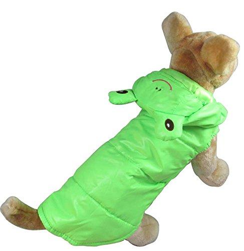 smalllee_lucky_store pour Animal Domestique Chat Chien Grenouille Vert Costume Coupe-Vent Manteau Veste Gilet pour Petit Chien Vêtements XL