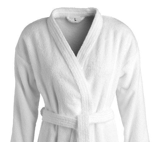 2x bademaentel/domani cappotti per lei e per lui in stile kimono in bianco in 100% cotone di carenesse
