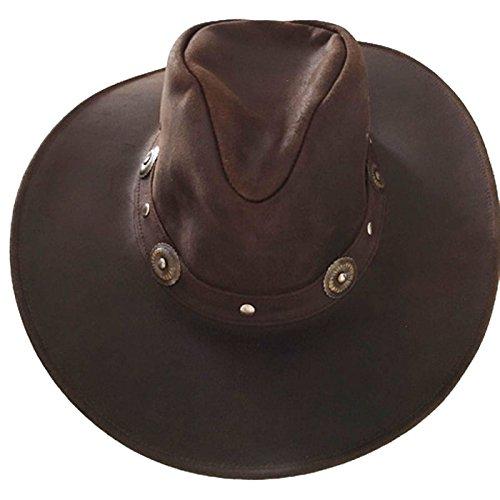 wow Australia Herren Western Cowboy Leder Hut Dunkelbraun Größe S