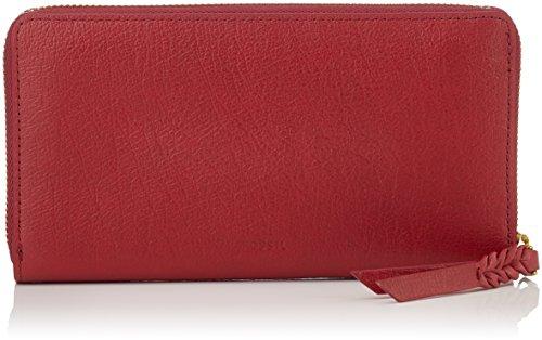 Fossil Damen Geldbörse Caroline - Rfid Zip Around Wallet Rot (Red Velvet), 2.5x10.8x19.7 cm