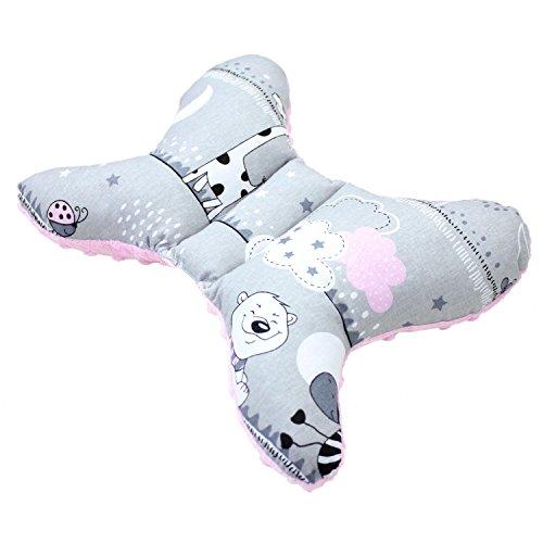 TupTam Baby Kopfkissen Stützkissen - Schmetterling Form, Farbe: Bärchen Rosa