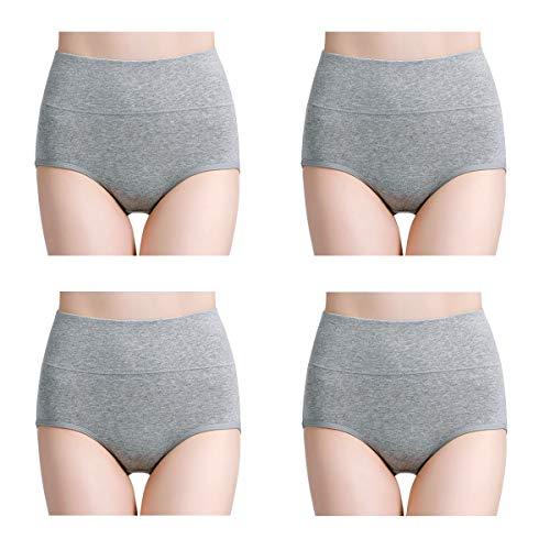 Wirarpa mutande donna culotte vita alta slip cotone pacco da 4 mutantina elastiche pantaloncini intimo contenitive post parto grigio taglia l