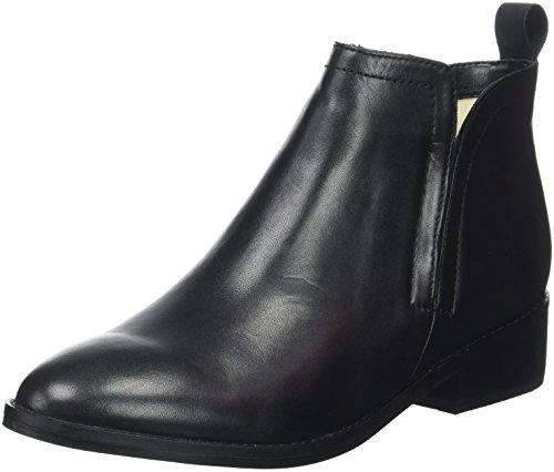 Buffalo London Damen 416-7396 Indios Leather Schlupfstiefel, Schwarz (Black 01), 41 EU (Stiefelette Bootie Leder)