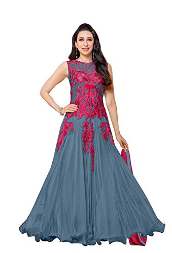 Salwar Suits For Women ( Vibes Women`s Net Anarkali Style Unstiched Dress Material )