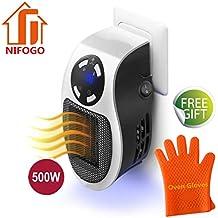 Nifogo Mini Heater Estufa Eléctrica - Portatil Calentador 500 W con Termostato Ajustable Tiempo Programable de