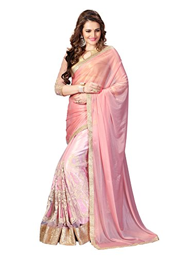 Online Fayda Cream & Baby Pink Coloured Art Silk & Net dazzling Saree