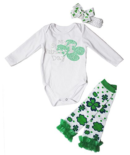 St Patrick Kleinkinder Kleidung Für (My 1st St Patrick Day Dress L/s Cotton Jumpsuit Leafs Leg Warmer 3pc Set Nb-18m (6-12 Monat,)