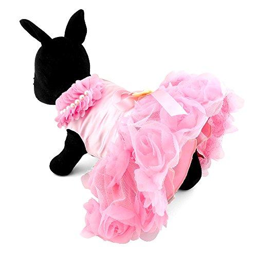 ein Hund Puppy Katze Kleidung Satin Rose formelle Kleid Tutu Hochzeit Kostüm (Halloween Cat Kleid Bis)