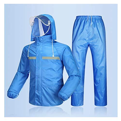 RAINCOAT Regenbekleidung- Herren/Damen Wasserdichte Set Herren Wasserdichte Regen Mantel Jacke Mantel Hose Bottoms Set Anzug Arbeit Camping Angeln (Farbe : Sky Blue, größe : XXXL)