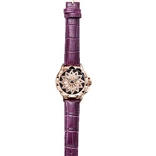 Damengürtel Uhr, Quarz Damenuhr Mode Diamant Damenuhr lässig wasserdicht atmungsaktiv Lederband,Purple