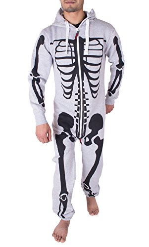 Herren Unisex Halloween Skelett All in One Onesie Jumpsuit Overall (M, Silber (Retro Jumpsuit Kostüme)