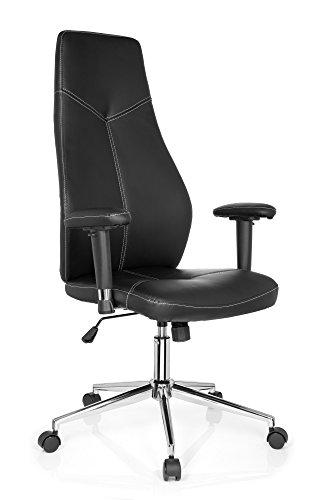 Leder Ergonomische Büro-stuhl (Bürostuhl Chefsessel STARTEC FC100 Kunst-Leder Schwarz Ergonomischer Schreibtisch-Stuhl X-XL Büro-Drehstuhl Home-Office Racer Armlehnen hohe Rückenlehne Wipp-Mechanik 120-kg MyBuero 726040)