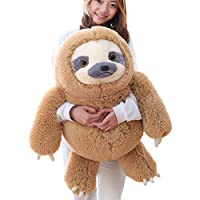 Winsterch Fluffy Giant Soft Toy Sloth Stuffed Animal Large Plush Sloth Toy Baby Doll Kids Gifts(Brown, 27.5 inches)