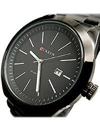 Reloj de hombre - CURREN Reloj de pulsera de acero inoxidable de cuarzo de hombre de deporte Negro