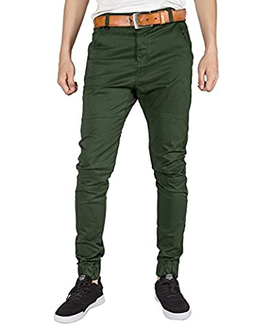 ITALY MORN Mens Chinos Joggers Casual Pants Khakis Cotton Twill Trousers Flat Front Joggers Slim Fit Stretch Black (Small, Army