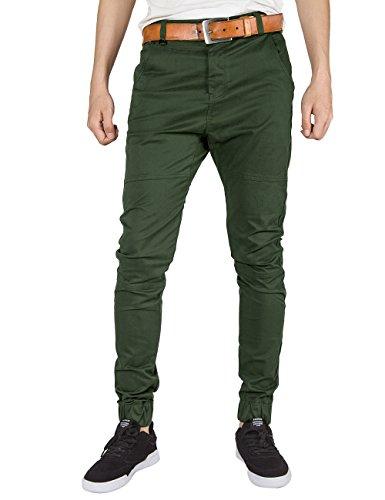 ITALY MORN Herren Chino Jogger Hose Sweatpants Elastisch Manschette Hose Jogging Baggy Hose Slim Trainings Pants Twill Schwarz (X-Large, Armee Grün)