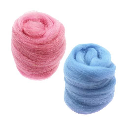FLAMEER 2pcs 10g Nadelfilzwolle Wolle Roving Faser handspinnen Handwerk Für Die Puppenherstellung Rosa Blau -