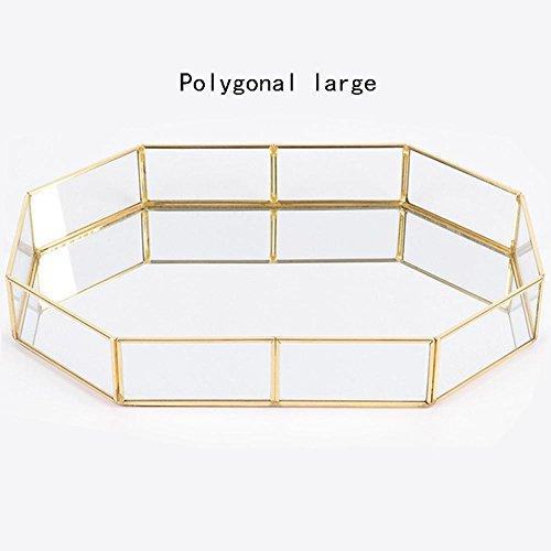 advancethy Tablett Schmuck Ablageschale Glas Vintage Schmuck Dekoration Metall Verspiegelt Verzierten Nordischen Ins Gold für Schmuck Desktop Dekorative -
