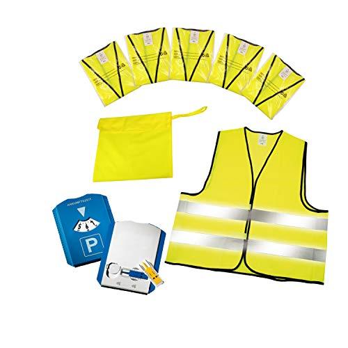 elasto Parkscheibe + Warnwesten 5er-Set im Etui nach EN ISO 20471 Zertifiziert Parkuhr inkl Profilmesser und Einkaufswagenchip Warnweste Gelb Einheitsgröße XXL mit Reflektorstreifen